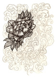 Hand painted peony flower with floral ornaments - 104077187