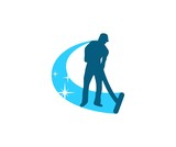Cleaning man logo
