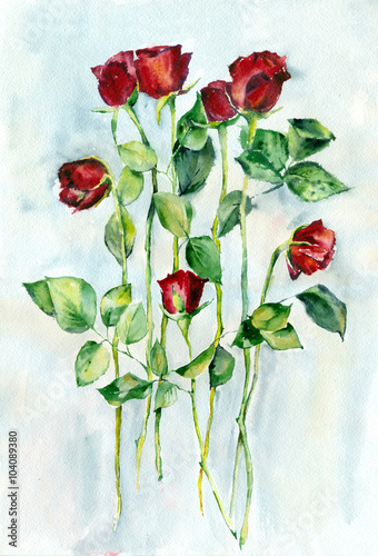 Juliste Watercolor painting. Red roses with green leaves on a long stems.
