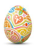 Fototapety 3D Vektor Osterei - Abstrakt verziert und mit fröhlichen Farben bemalt. Colorful Easter Egg with Abstract Pattern Isolated on White Background.