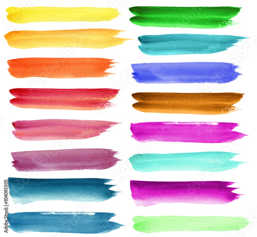 Set of color watercolor brush strokes. Isolated on white.