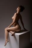 Young, beautiful girl posing nude in the studio