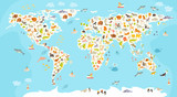 World mammal map. Beautiful cheerful colorful vector illustration for children and kids. Preschool, baby, continents, oceans, drawn, Earth