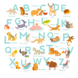 Fototapety Cute vector zoo alphabet. Funny cartoon animals. Vector Illustration EPS10 isolated on white background. Letters. Learn to read