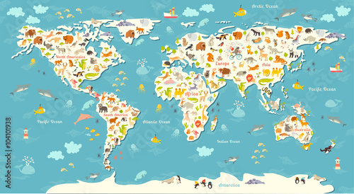 Naklejka Animals world map. Beautiful cheerful colorful vector illustration for children and kids. With the inscription of the oceans and continents. Preschool, baby, continents, oceans, drawn, Earth