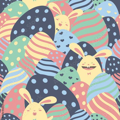 Cotton fabric Easter cartoon seamless pattern