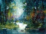 Рисунок лес акварель