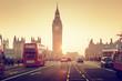 Leinwanddruck Bild - Westminster Bridge at sunset, London, UK