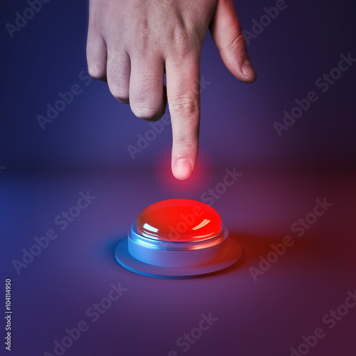 Poster Pushing A Panic Button. A person about to press a big red button.