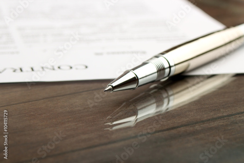 Poster signing a contract, business contract details