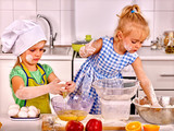 Fototapety Alone messy kids learn preparing breakfast at home kitchen