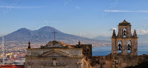 Fotobehang Napels Vista del golfo di Napoli con il Vesuvio