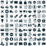 hundred shopping icon set
