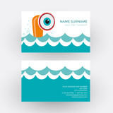 Vector abstract cheerful submarine. Business card