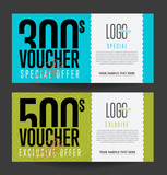 Fototapety Gift voucher template. Back and front side of the coupon. Vector illustration.