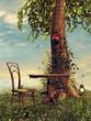 Obrazy na płótnie, fototapety, zdjęcia, fotoobrazy drukowane : Stolik i krzesło na wiosennej łące pod drzewem
