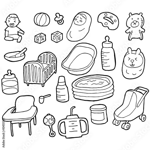 Papiers peints Cartoon draw vector set of baby accessories