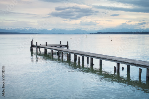 Naklejka wooden jetty Starnberg lake