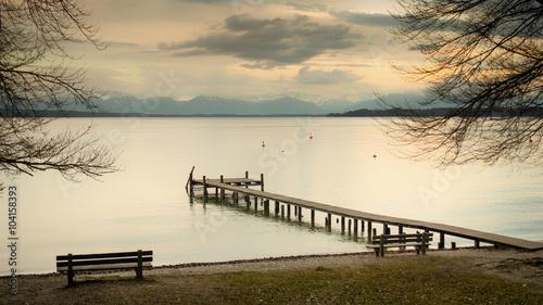 Fototapeta wooden jetty Starnberg lake
