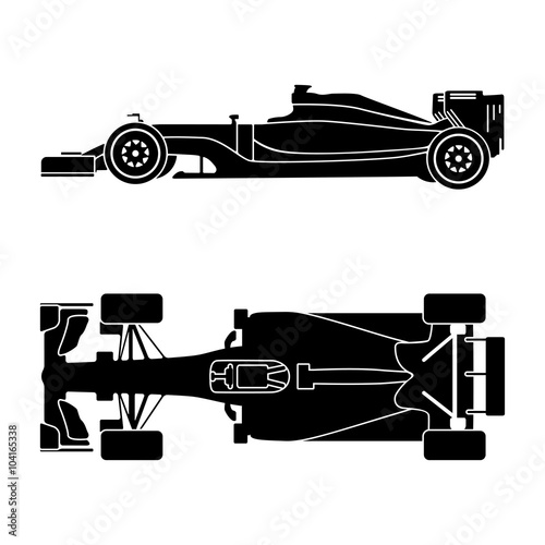 Silhouette of a racing car isolated on white background. Top view and side view. Vector illustration