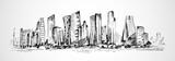 Hand drawn horizontal scene of office buildings - 104167132