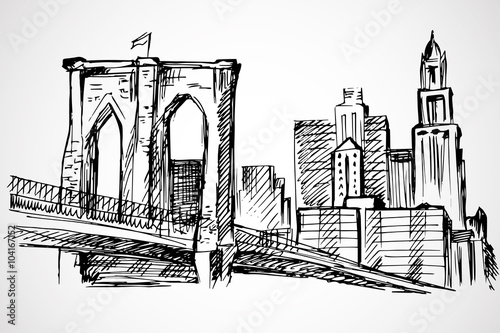 Hand drawn Brooklyn Bridge and buildings