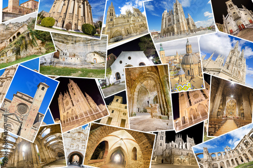 A collage of my best photos of churchs, monasterys and cathedrals including some famous temples like Burgos cathedral, Leon cathedral, and Zaragoza basilic.