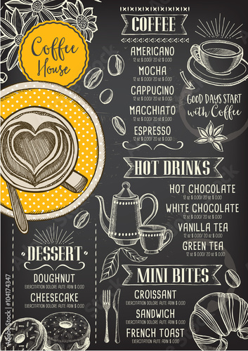 Coffee restaurant cafe menu, template design.