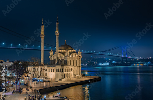 Poster Ortakoy Mosque and the Bosphorus Bridge at night Istanbul Turkey
