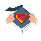 Fototapety super hero with heart - vector