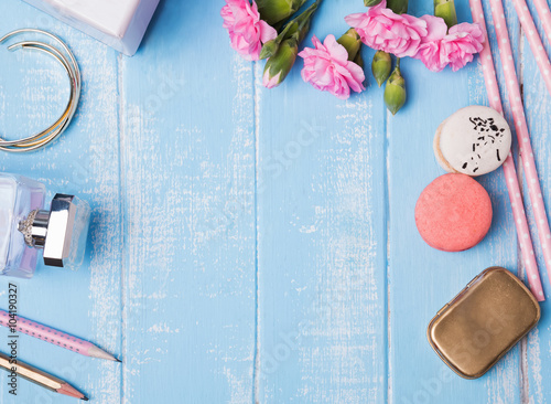 Cute accessories on blue background