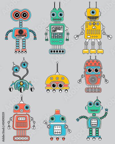 Naklejka Set of cute vintage robots. Circuit Icons.