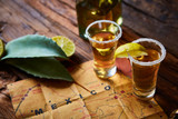 Fototapety Tequila shot with lime and sea salt