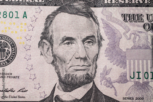 Poster Portrait of US President Abraham Lincoln on the five dollar bill