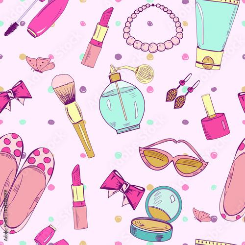 Materiał do szycia Cute seamless pattern with feminine accessories.