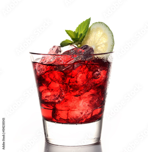 Poster glass of cherry juice, lime and mint on a white background