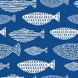 Fototapety Light watercolor fishes. Seamlessly tiling fish pattern. Vector.