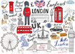London city doodles elements collection. Hand drawn set with, tower bridge, crown, big ben, royal guard, red bus and black cab, UK map and flag, tea pot, lettering, vector illustration isolated