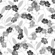Seamless monochrome pattern with flowering trees.  vector background