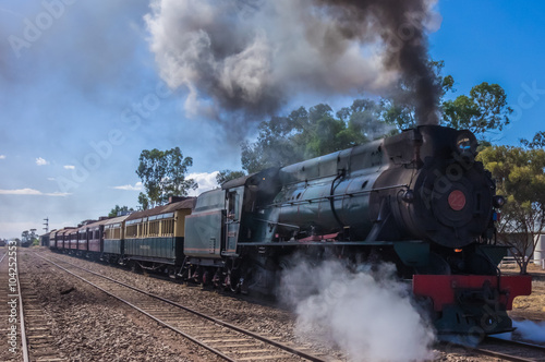 obraz PCV A restored steam engine Locomotive still journeys in outback South Australia