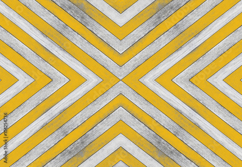 X shaped, old white and yellow wood texture - 104254736