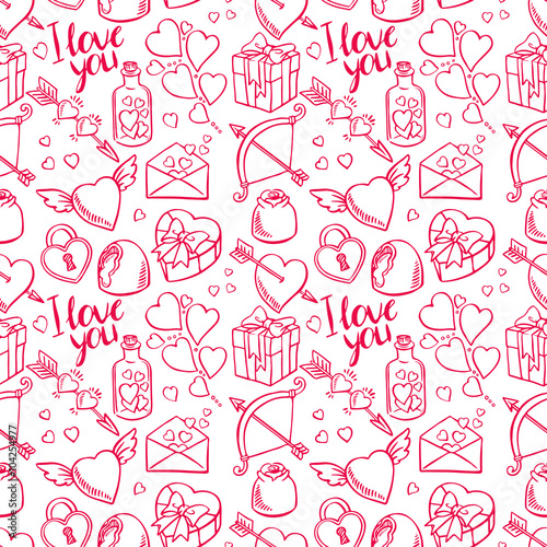 Cotton fabric Valentine seamless sketch background