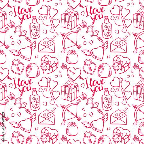 Cotton fabric Valentine seamless sketch background