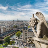 Gargoyle and city view from the roof of Notre Dame de Paris