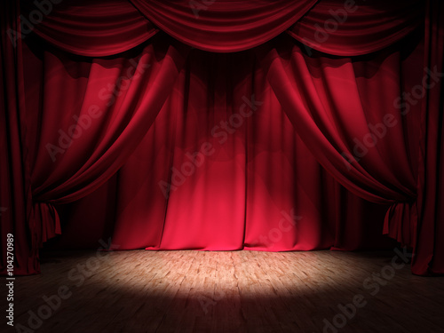 Plakat Show Stage Red Curtains Spotlight