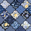 seamless floral patchwork pattern with roses and meadow flowers