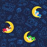 seamless pattern with children sleeping on moon among stars - vector illustration, eps