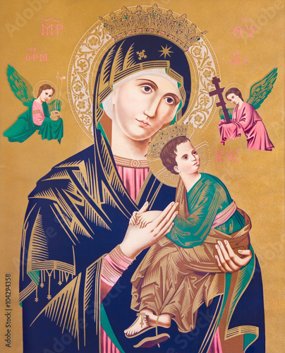 Typical catholic image of Madonna with the child (Our Lady of Perpetual Help) © Renáta Sedmáková