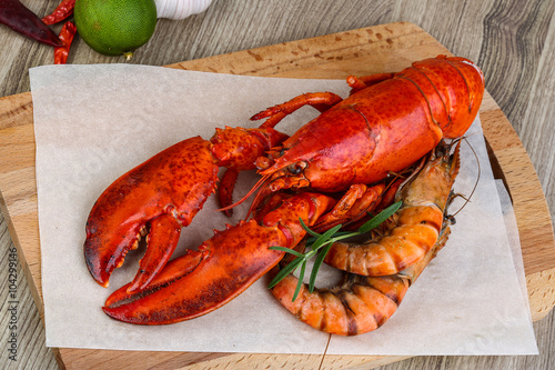 Poster, Tablou Lobster and shrimps
