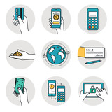 Mobile payment and other payment methods. Smart banking icons collection.